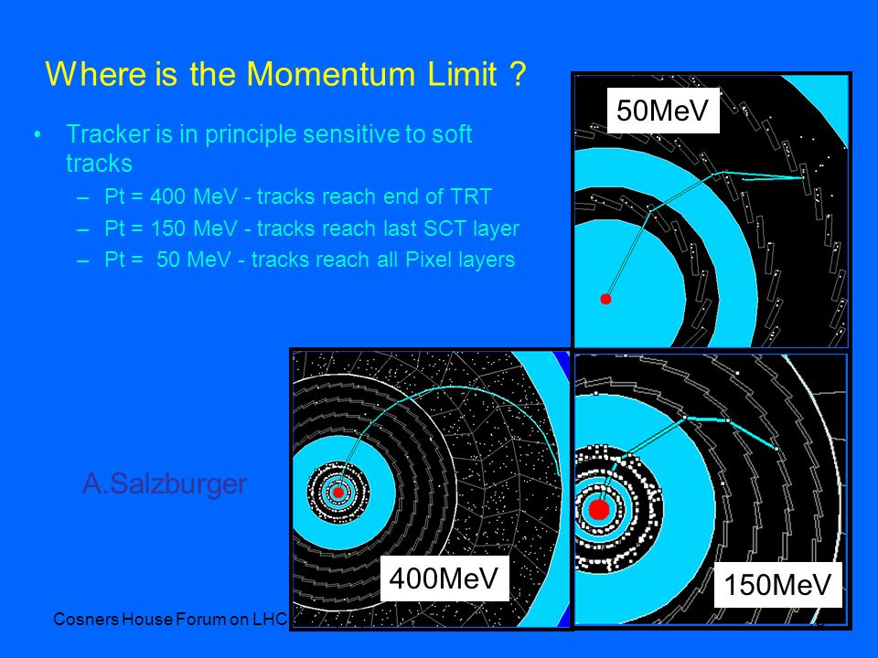 Cosners House Forum on LHC startup April 07 18 Where is the Momentum Limit ? Tracker is in principle sensitive to soft tracks –Pt = 400 MeV - tracks r