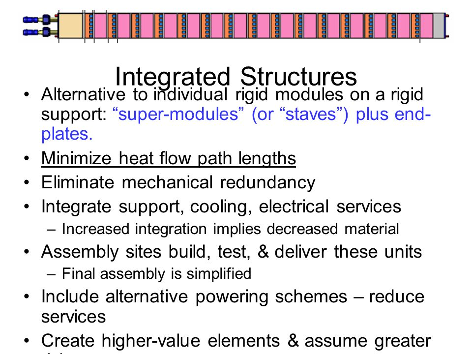 Integrated Structures Alternative to individual rigid modules on a rigid support: super-modules (or staves) plus end- plates.
