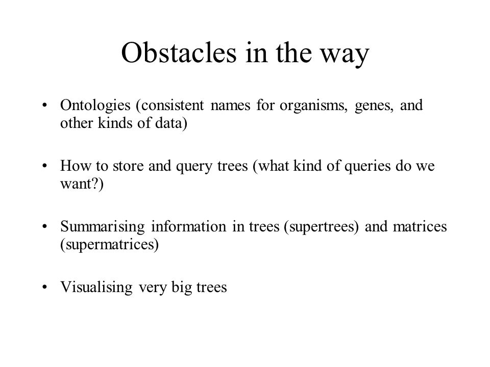 From journal to database… Problem: not enough data and trees in journals make it into databases