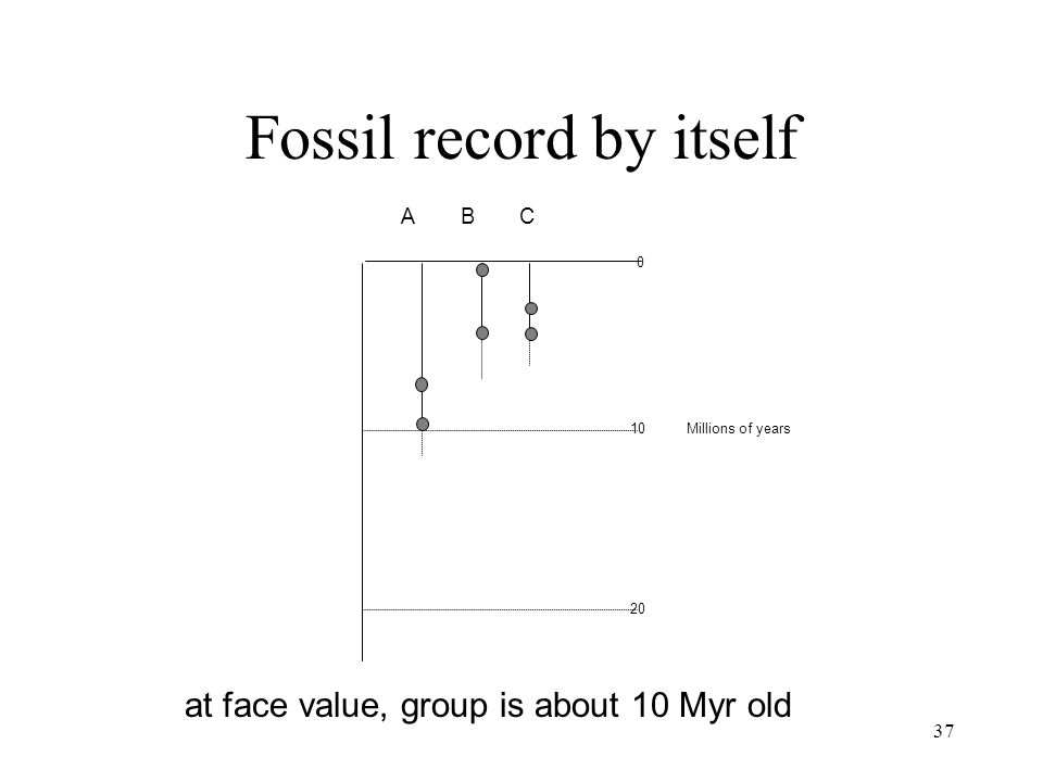 37 ABC 10 20 0 Millions of years Fossil record by itself at face value, group is about 10 Myr old