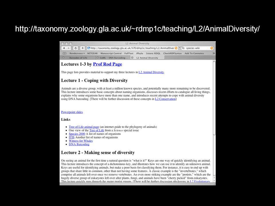 4 http://taxonomy.zoology.gla.ac.uk/~rdmp1c/teaching/L2/AnimalDiversity/