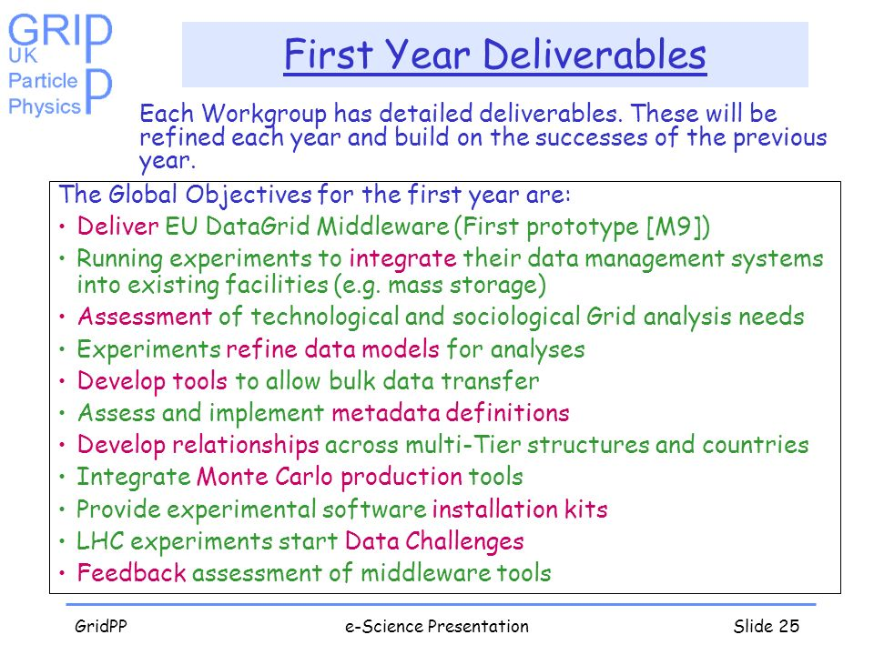 GridPPe-Science PresentationSlide 25 First Year Deliverables Each Workgroup has detailed deliverables. These will be refined each year and build on th