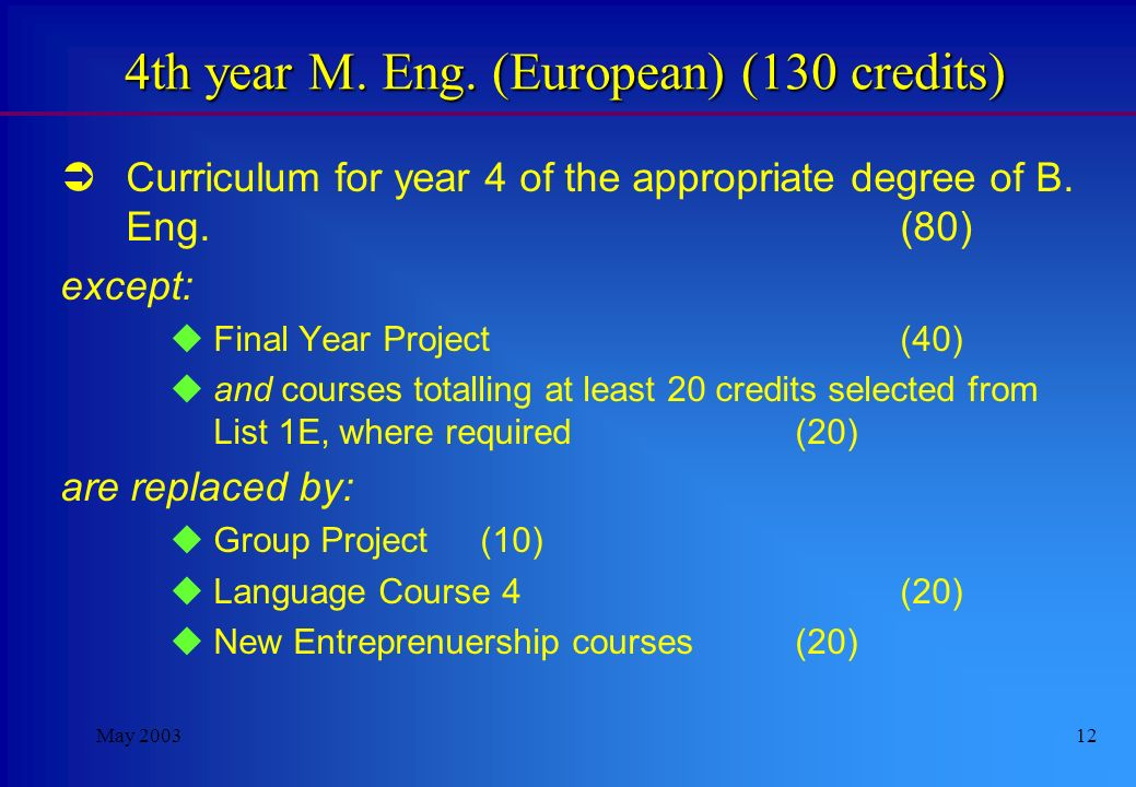May 200311 5th year M. Eng.(International) (140 credits) Industrial Project EE5 (July-Dec) (70) Technical courses totalling at least 60 credits select
