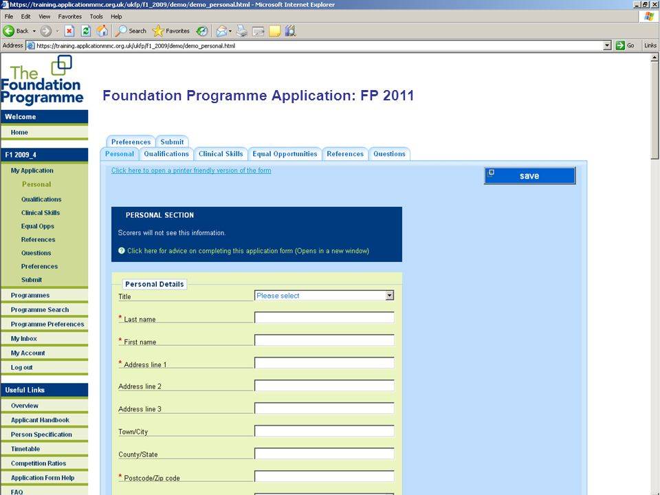 Foundation Programme Application: FP 2011