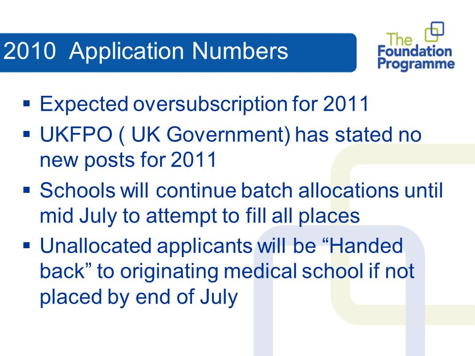 2010 Application Numbers Expected oversubscription for 2011 UKFPO ( UK Government) has stated no new posts for 2011 Schools will continue batch allocations until mid July to attempt to fill all places Unallocated applicants will be Handed back to originating medical school if not placed by end of July