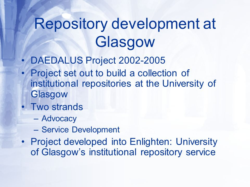 Glasgow Repositories Enlighten (http://www.gla.ac.uk/enlighten) includes:http://www.gla.ac.uk/enlighten Glasgow ePrints Service: published peer- reviewed papers, conference proceedings & papers, books, book chapters (http://eprints.gla.ac.uk) DSpace: pre-prints, theses, grey literature, technical reports, working papers (https://dspace.gla.ac.uk)