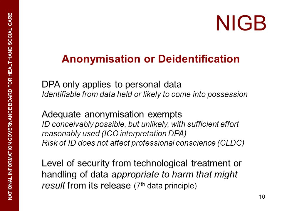10 NIGB NATIONAL INFORMATION GOVERNANCE BOARD FOR HEALTH AND SOCIAL CARE Anonymisation or Deidentification DPA only applies to personal data Identifia