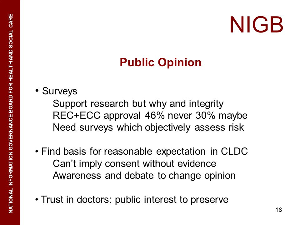 18 NIGB NATIONAL INFORMATION GOVERNANCE BOARD FOR HEALTH AND SOCIAL CARE Public Opinion Surveys Support research but why and integrity REC+ECC approva