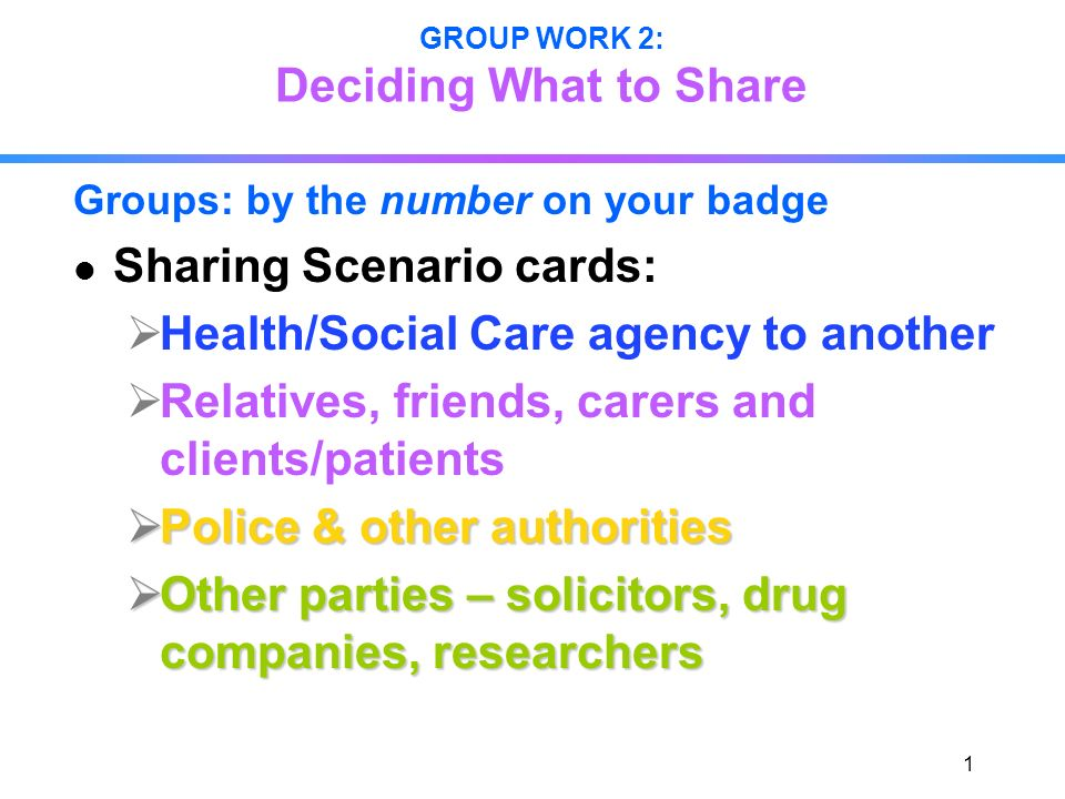 1 GROUP WORK 2: Deciding What to Share Groups: by the number on your badge Sharing Scenario cards: Health/Social Care agency to another Relatives, fri