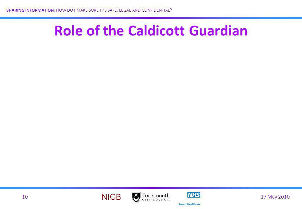 17 May 201010 SHARING INFORMATION: HOW DO I MAKE SURE ITS SAFE, LEGAL AND CONFIDENTIAL? NIGB Role of the Caldicott Guardian