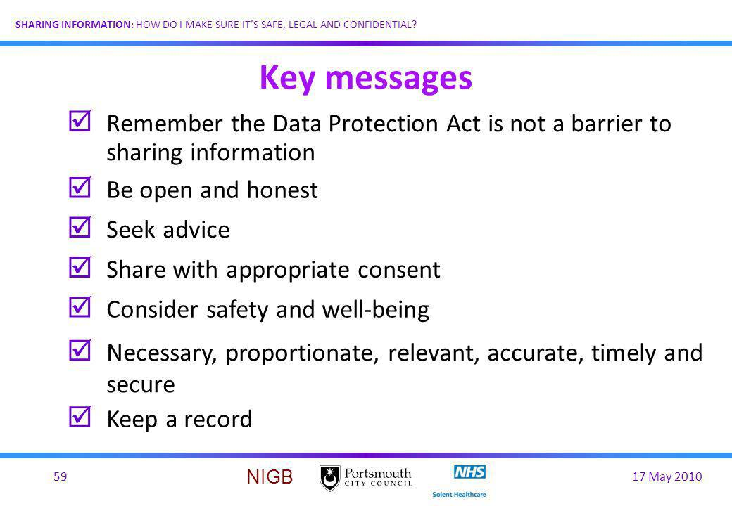 17 May 201059 SHARING INFORMATION: HOW DO I MAKE SURE ITS SAFE, LEGAL AND CONFIDENTIAL? NIGB Key messages þ Remember the Data Protection Act is not a