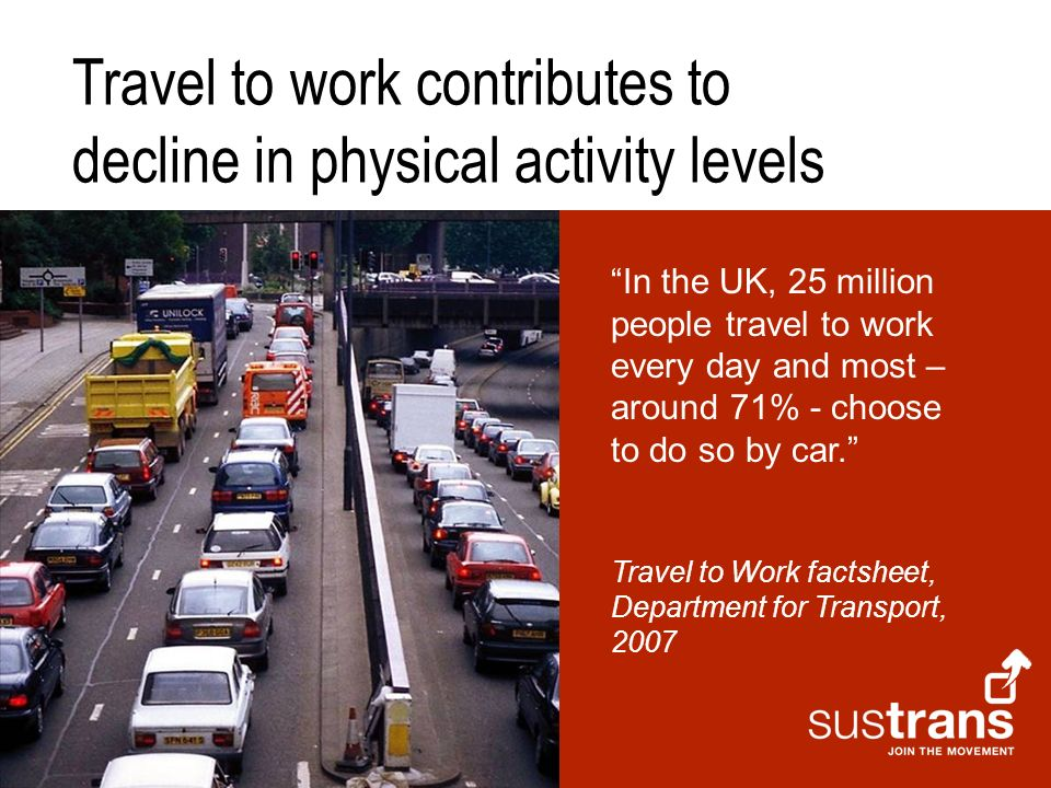 In the UK, 25 million people travel to work every day and most – around 71% - choose to do so by car. Travel to Work factsheet, Department for Transpo