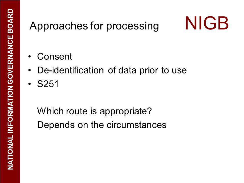 Approaches for processing NIGB Consent De-identification of data prior to use S251 Which route is appropriate? Depends on the circumstances NATIONAL I