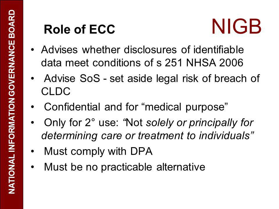 Role of ECC NIGB Advises whether disclosures of identifiable data meet conditions of s 251 NHSA 2006 Advise SoS - set aside legal risk of breach of CL