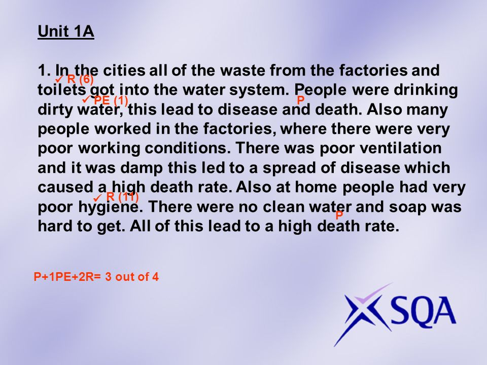 Unit 1A 1. In the cities all of the waste from the factories and toilets got into the water system.