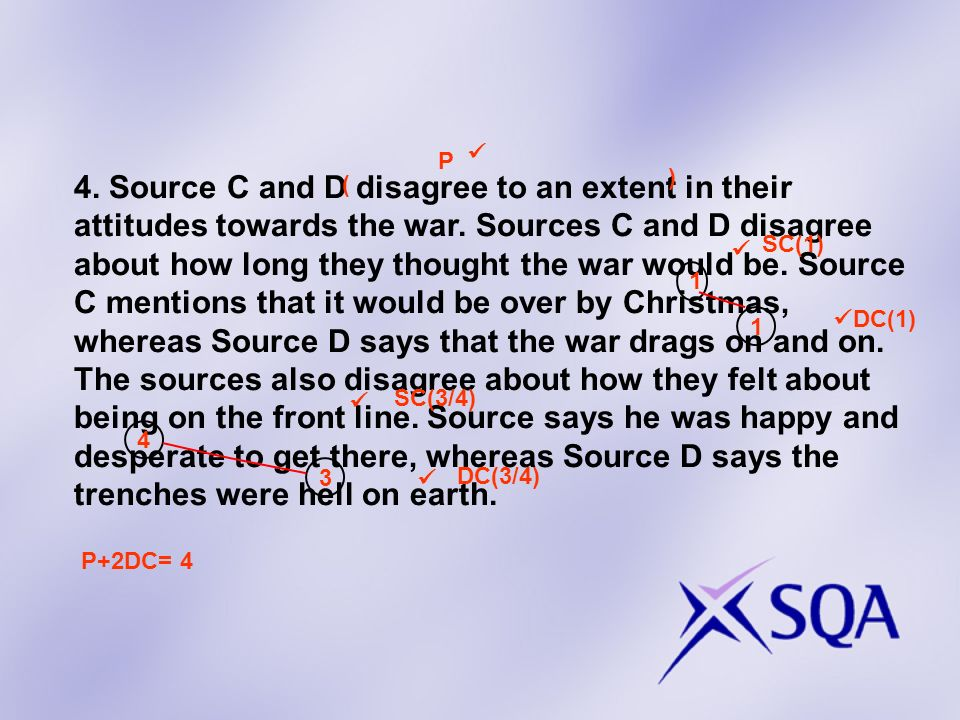 4. Source C and D disagree to an extent in their attitudes towards the war. Sources C and D disagree about how long they thought the war would be. Sou