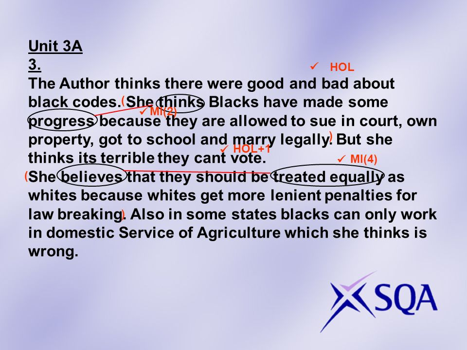 Unit 3A 3. The Author thinks there were good and bad about black codes. She thinks Blacks have made some progress because they are allowed to sue in c