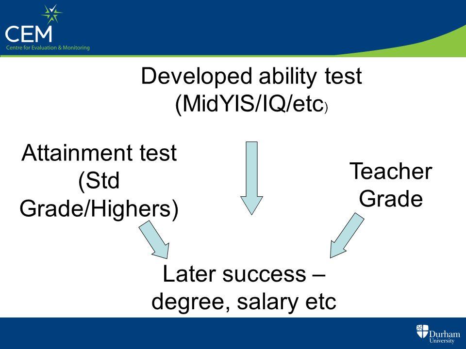 Developed ability test (MidYIS/IQ/etc ) Attainment test (Std Grade/Highers) Teacher Grade Later success – degree, salary etc Predictive validity