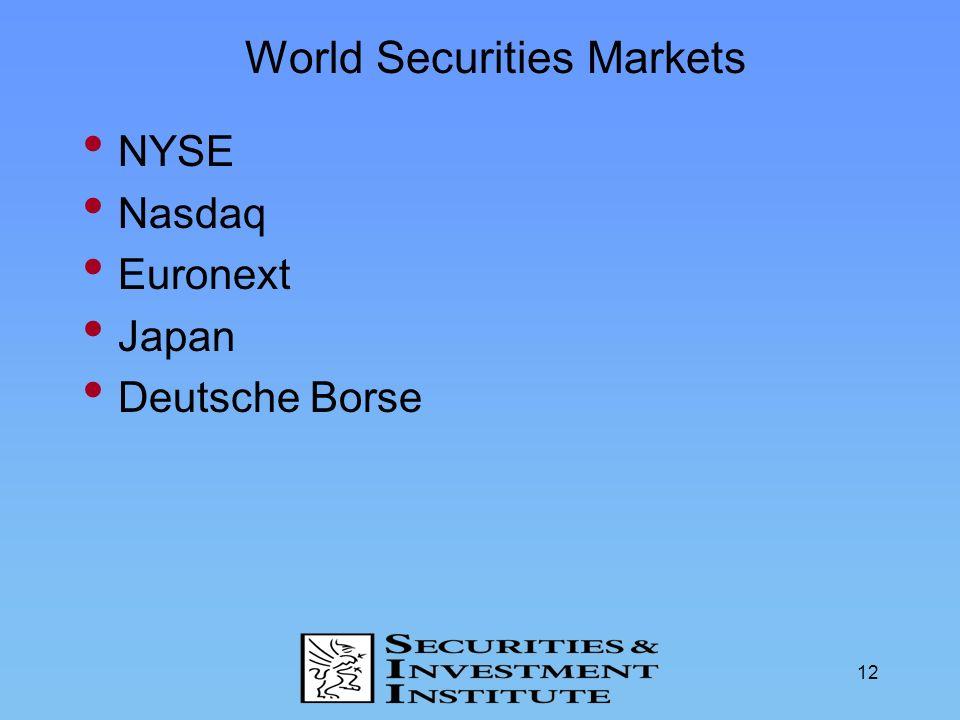 12 World Securities Markets NYSE Nasdaq Euronext Japan Deutsche Borse