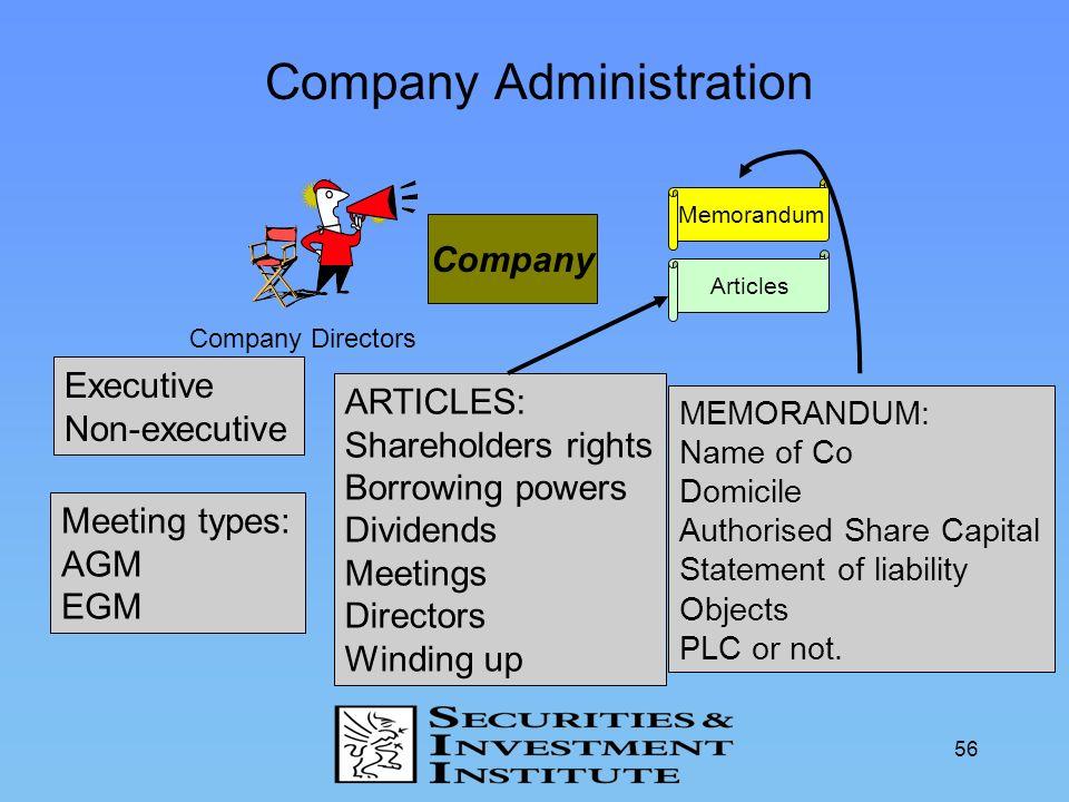 56 Company Administration Company Shareholders Memorandum Articles Company Directors Executive Non-executive Meeting types: AGM EGM ARTICLES: Sharehol