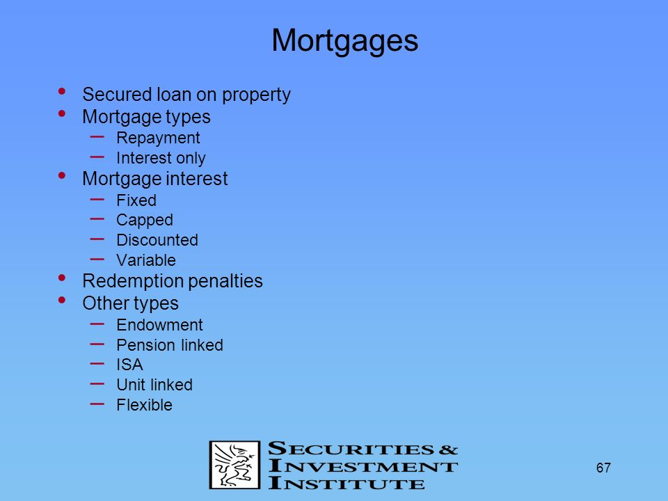 67 Mortgages Secured loan on property Mortgage types – Repayment – Interest only Mortgage interest – Fixed – Capped – Discounted – Variable Redemption