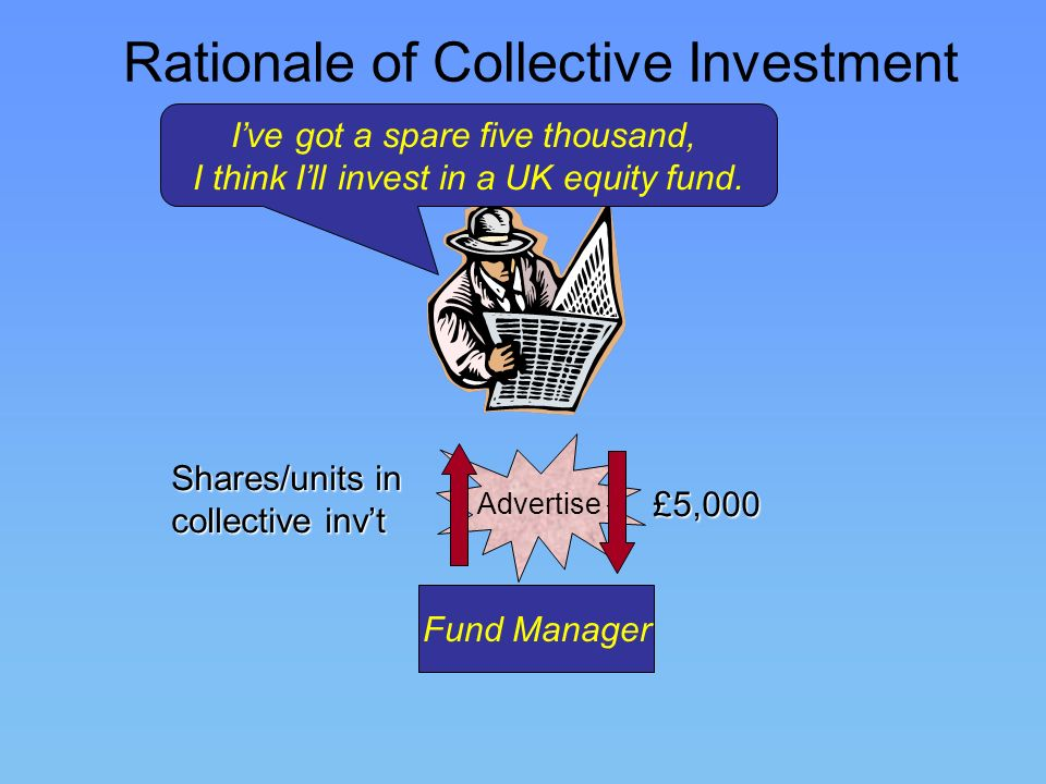 Rationale of Collective Investment Fund Manager Advertise £5,000 Ive got a spare five thousand, I think Ill invest in a UK equity fund. Shares/units i