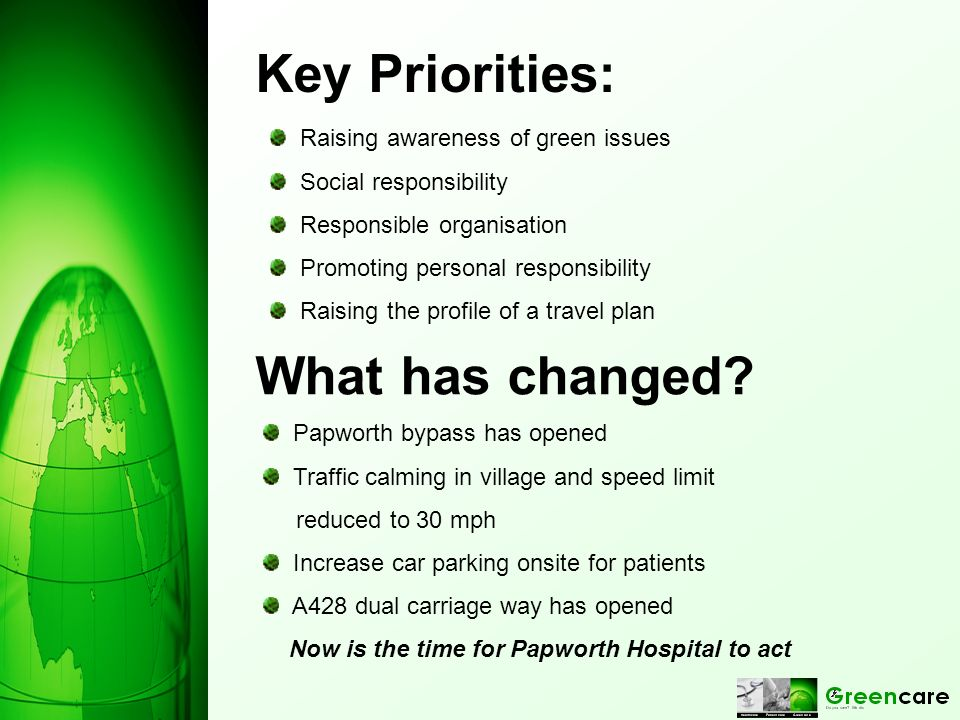Key Priorities: Raising awareness of green issues Social responsibility Responsible organisation Promoting personal responsibility Raising the profile