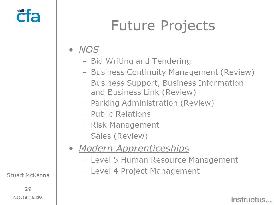 29 ©2013 Skills CFA Stuart McKenna Future Projects NOS –Bid Writing and Tendering –Business Continuity Management (Review) –Business Support, Business