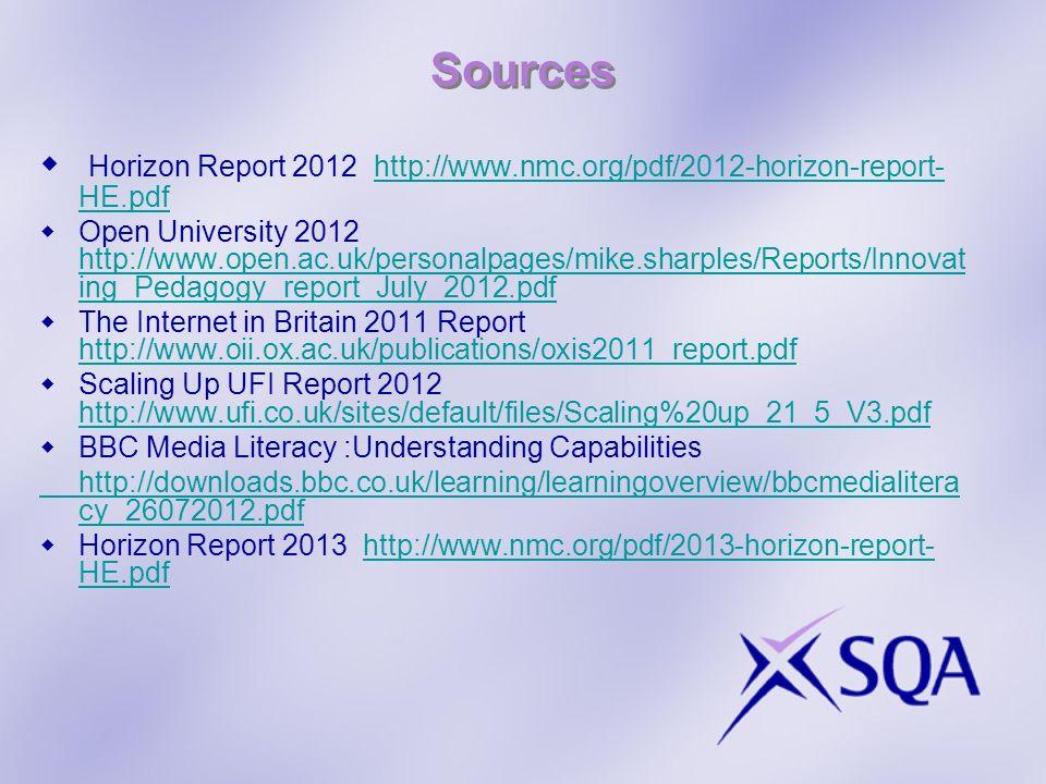 Sources Horizon Report 2012 http://www.nmc.org/pdf/2012-horizon-report- HE.pdfhttp://www.nmc.org/pdf/2012-horizon-report- HE.pdf Open University 2012