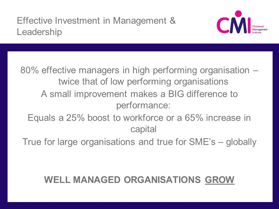 Effective Investment in Management & Leadership 80% effective managers in high performing organisation – twice that of low performing organisations A