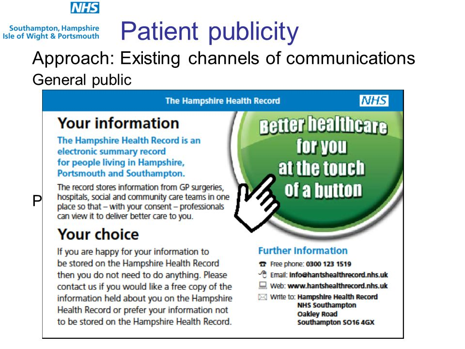 Patient publicity Approach: Existing channels of communications General public PPSA GP registration letter includes paragraph on the HHR Regular adver