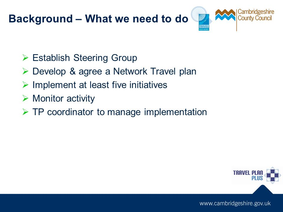 Establish Steering Group Develop & agree a Network Travel plan Implement at least five initiatives Monitor activity TP coordinator to manage implementation Background – What we need to do