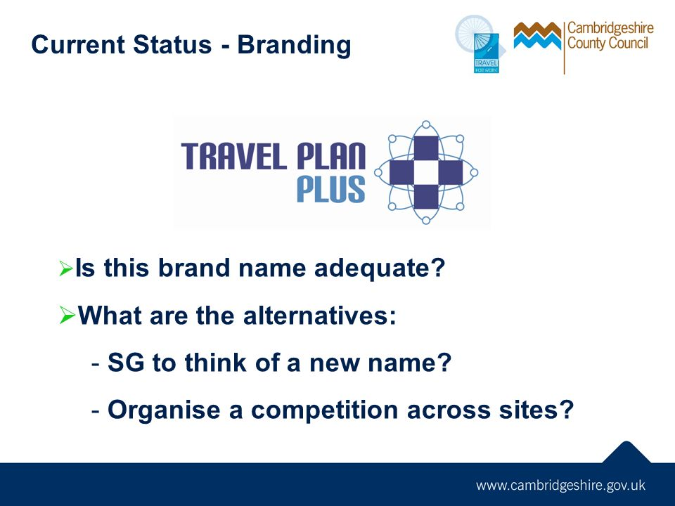 Current Status - Branding Is this brand name adequate? What are the alternatives: - SG to think of a new name? - Organise a competition across sites?