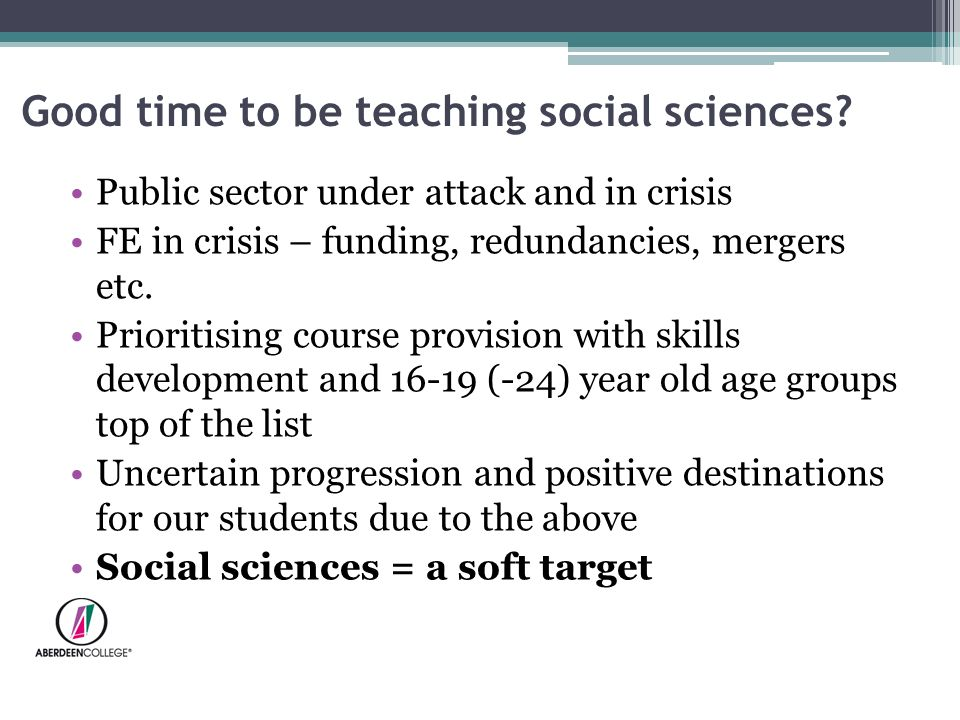 Good time to be teaching social sciences.