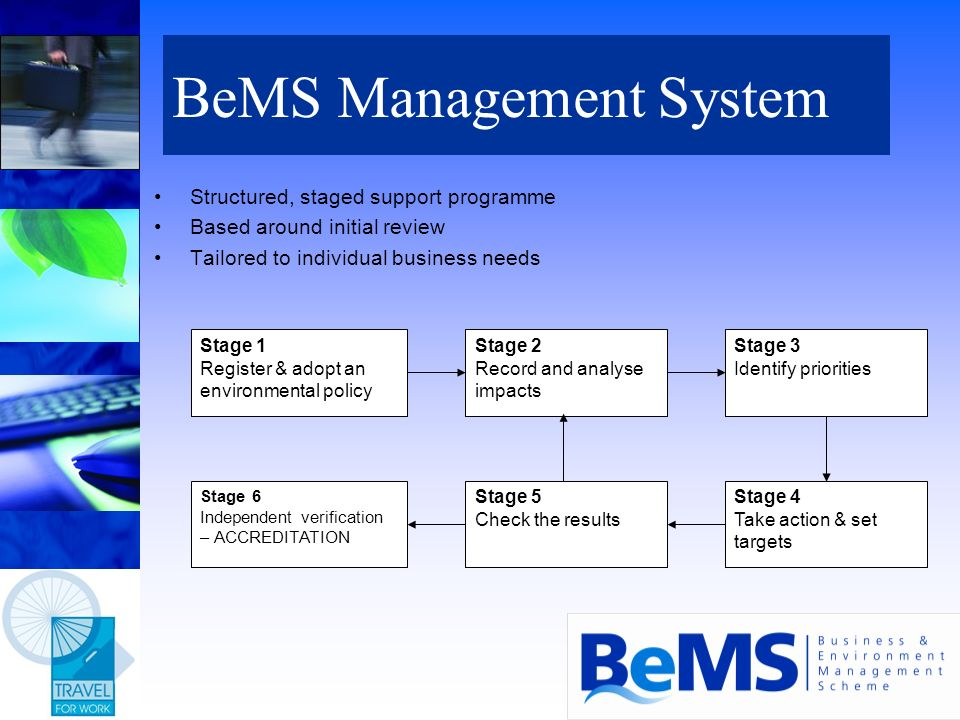 BeMS Management System Structured, staged support programme Based around initial review Tailored to individual business needs Stage 1 Register & adopt