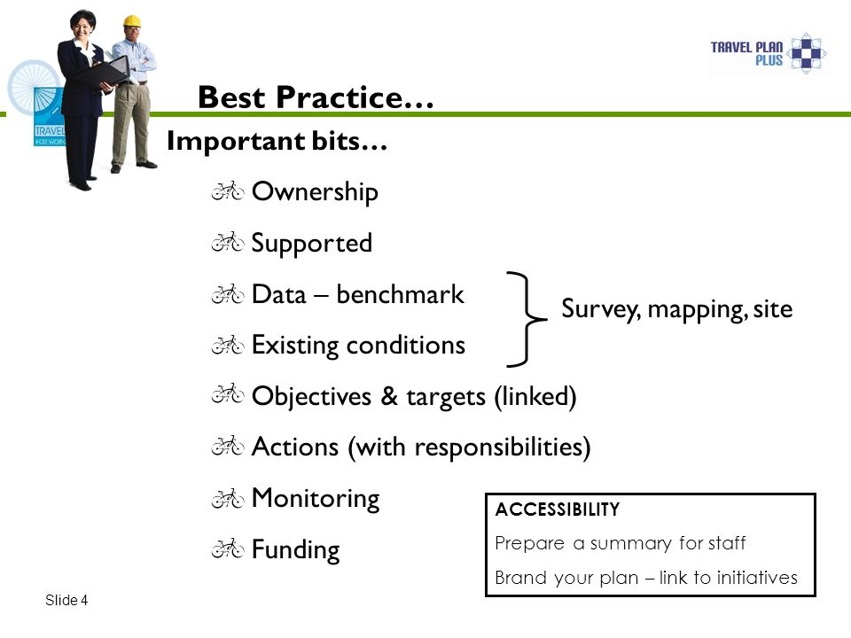 Best Practice… Slide 4 Survey, mapping, site Important bits… Ownership Supported Data – benchmark Existing conditions Objectives & targets (linked) Actions (with responsibilities) Monitoring Funding ACCESSIBILITY Prepare a summary for staff Brand your plan – link to initiatives