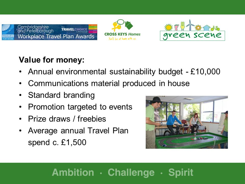 Value for money: Annual environmental sustainability budget - £10,000 Communications material produced in house Standard branding Promotion targeted to events Prize draws / freebies Average annual Travel Plan spend c.