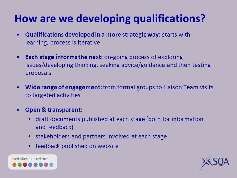 How are we developing qualifications.