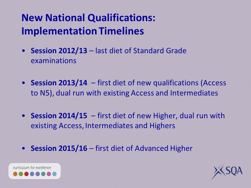 New National Qualifications: Implementation Timelines Session 2012/13 – last diet of Standard Grade examinations Session 2013/14 – first diet of new qualifications (Access to N5), dual run with existing Access and Intermediates Session 2014/15 – first diet of new Higher, dual run with existing Access, Intermediates and Highers Session 2015/16 – first diet of Advanced Higher