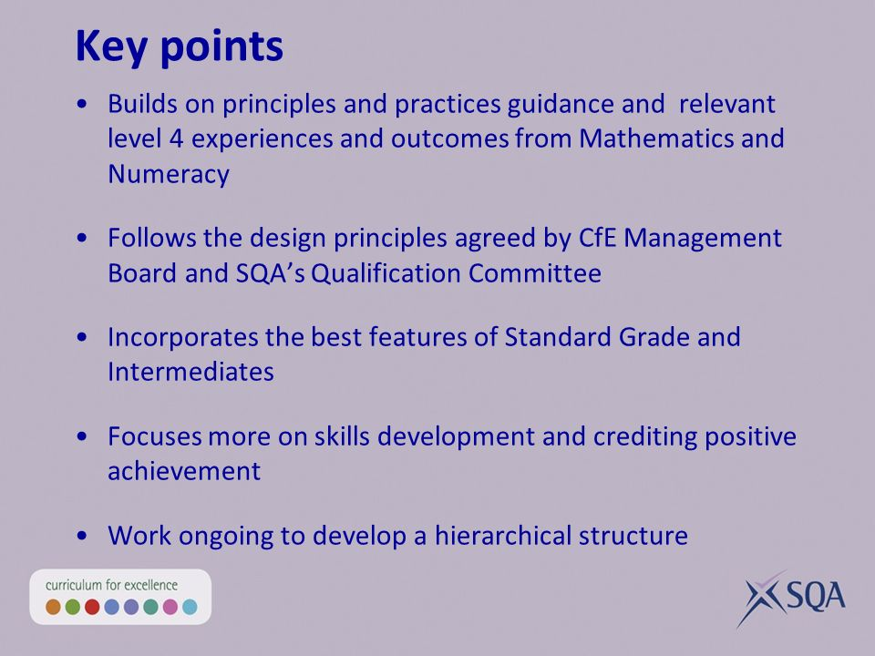 Key points Builds on principles and practices guidance and relevant level 4 experiences and outcomes from Mathematics and Numeracy Follows the design principles agreed by CfE Management Board and SQAs Qualification Committee Incorporates the best features of Standard Grade and Intermediates Focuses more on skills development and crediting positive achievement Work ongoing to develop a hierarchical structure