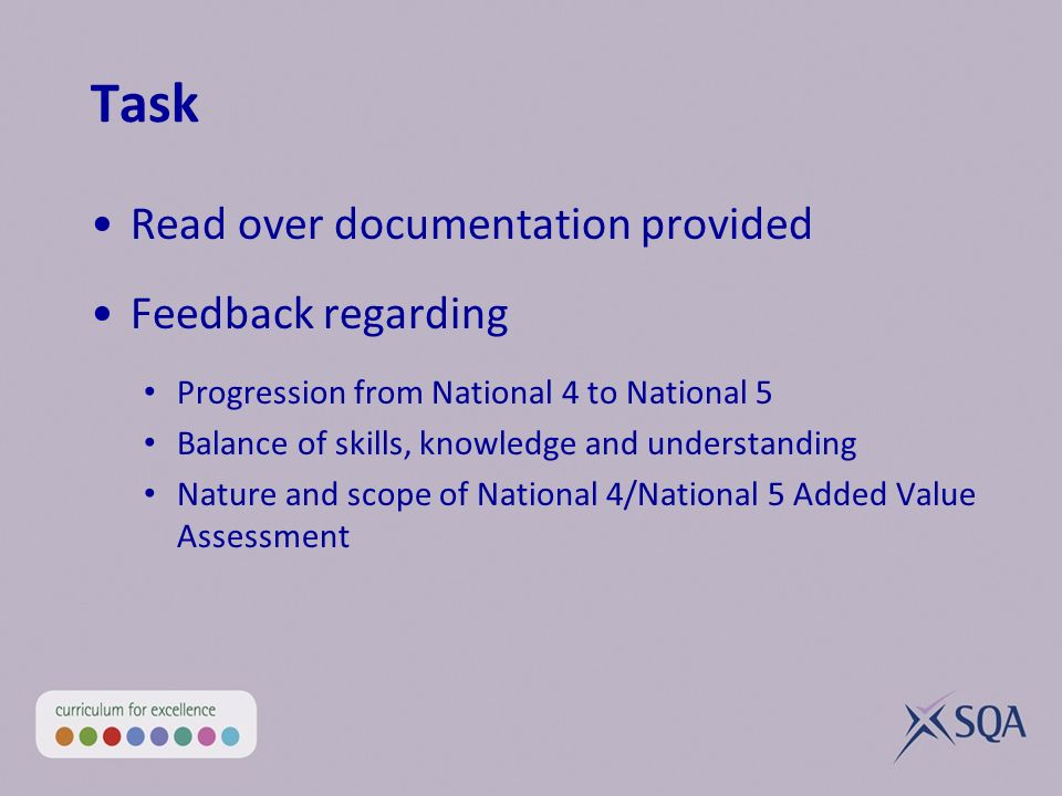 Task Read over documentation provided Feedback regarding Progression from National 4 to National 5 Balance of skills, knowledge and understanding Natu
