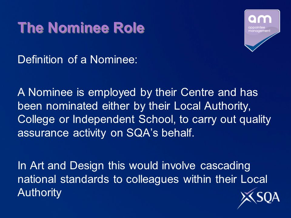 Team Leader Role SQA Appointee Adhere to SQA conditions, timescales and arrangements Conduct verification visits Support their Principal Verifier / Senior Team Leader Assist SQA colleagues Additional Duties