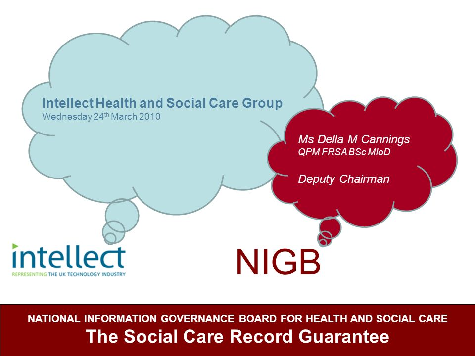 NIGB NATIONAL INFORMATION GOVERNANCE BOARD FOR HEALTH AND SOCIAL CARE The Social Care Record Guarantee Intellect Health and Social Care Group Wednesda
