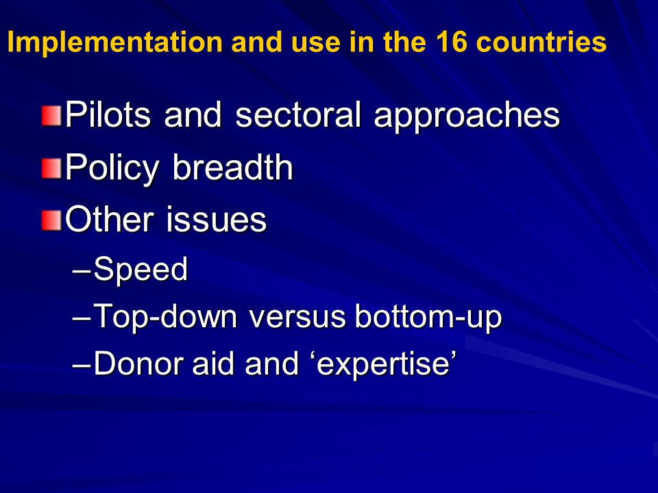 Implementation and use in the 16 countries Pilots and sectoral approaches Policy breadth Other issues –Speed –Top-down versus bottom-up –Donor aid and