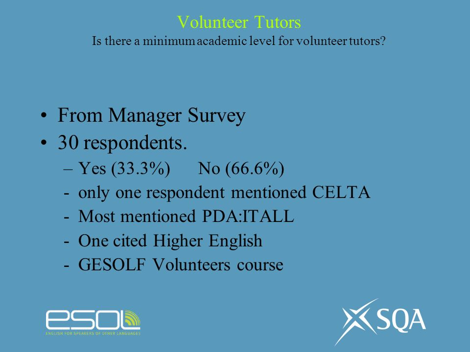 Volunteer Tutors Is there a minimum academic level for volunteer tutors? From Manager Survey 30 respondents. –Yes (33.3%) No (66.6%) -only one respond