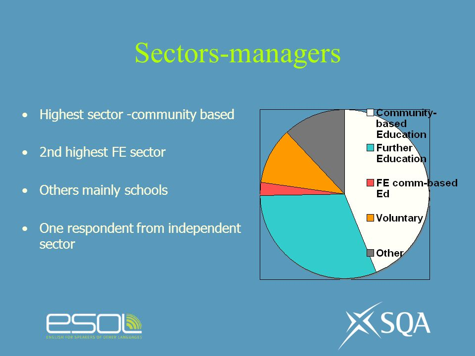 Sectors-managers Highest sector -community based 2nd highest FE sector Others mainly schools One respondent from independent sector