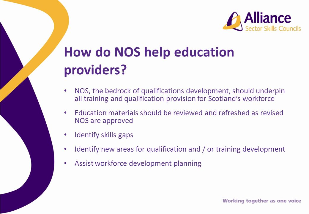 NOS, the bedrock of qualifications development, should underpin all training and qualification provision for Scotlands workforce Education materials should be reviewed and refreshed as revised NOS are approved Identify skills gaps Identify new areas for qualification and / or training development Assist workforce development planning How do NOS help education providers