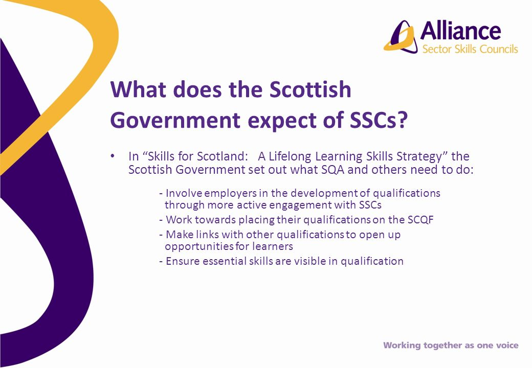 In Skills for Scotland: A Lifelong Learning Skills Strategy the Scottish Government set out what SQA and others need to do: - Involve employers in the development of qualifications through more active engagement with SSCs - Work towards placing their qualifications on the SCQF - Make links with other qualifications to open up opportunities for learners - Ensure essential skills are visible in qualification What does the Scottish Government expect of SSCs