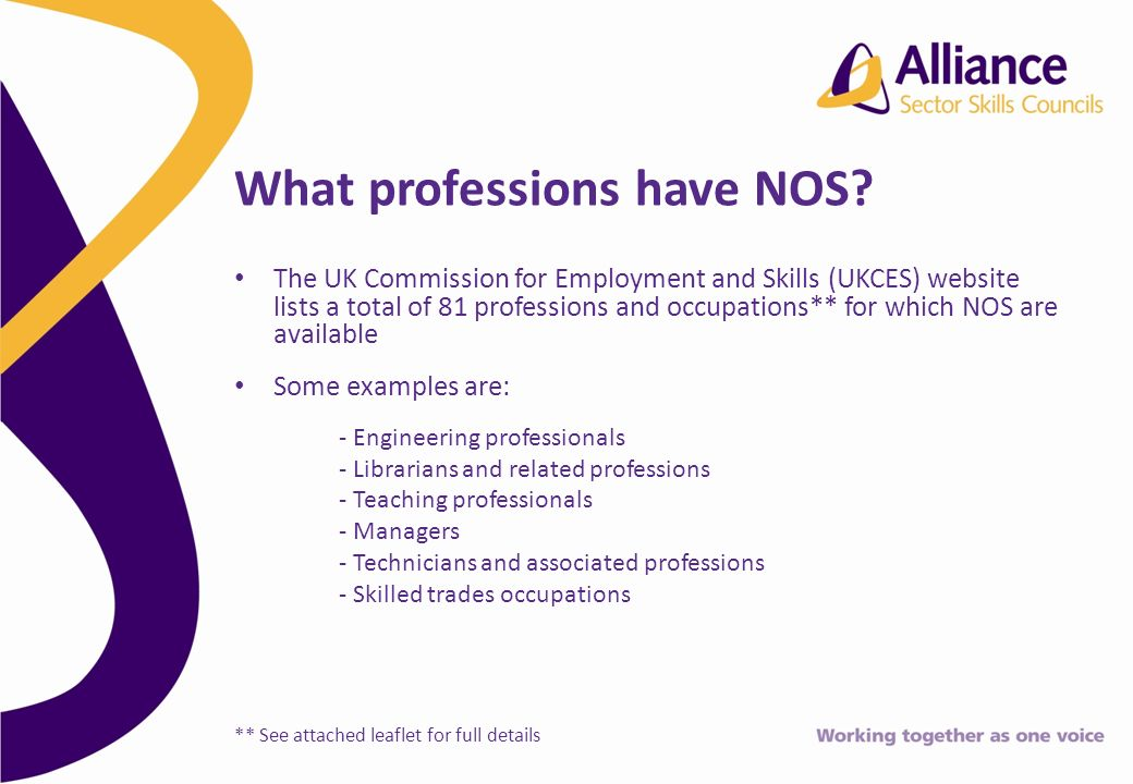 The UK Commission for Employment and Skills (UKCES) website lists a total of 81 professions and occupations** for which NOS are available Some examples are: - Engineering professionals - Librarians and related professions - Teaching professionals - Managers - Technicians and associated professions - Skilled trades occupations ** See attached leaflet for full details What professions have NOS