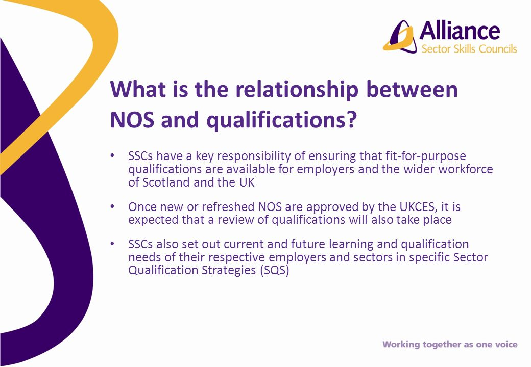 SSCs have a key responsibility of ensuring that fit-for-purpose qualifications are available for employers and the wider workforce of Scotland and the UK Once new or refreshed NOS are approved by the UKCES, it is expected that a review of qualifications will also take place SSCs also set out current and future learning and qualification needs of their respective employers and sectors in specific Sector Qualification Strategies (SQS) What is the relationship between NOS and qualifications